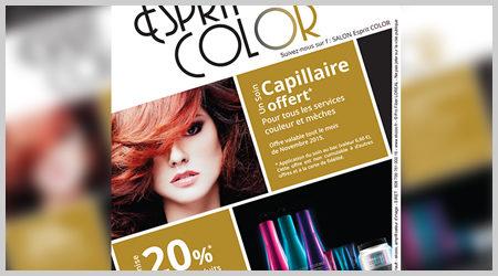 L'agence ekooo crée d'un Flyer pour le salon de coiffure Esprit Color de Richelieu.
