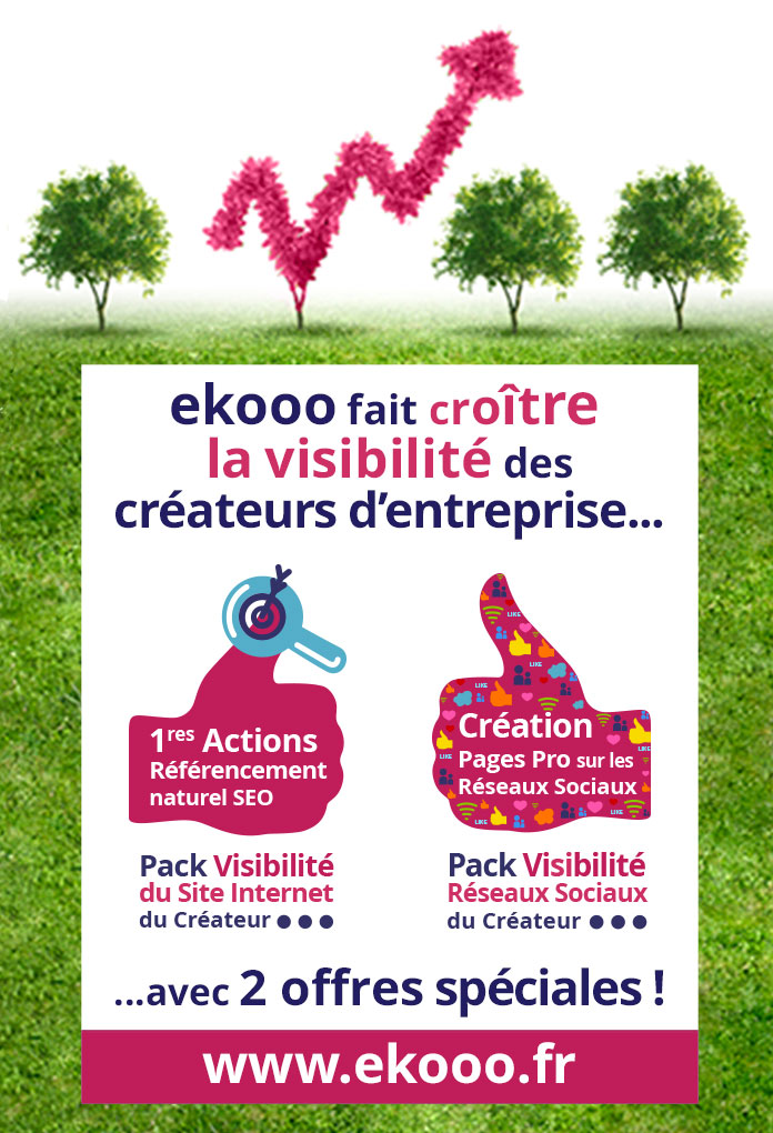 ekooo fait croître la visibilité des créateurs d'entreprise. Meilleur référencement du site Internet et des réseaux sociaux