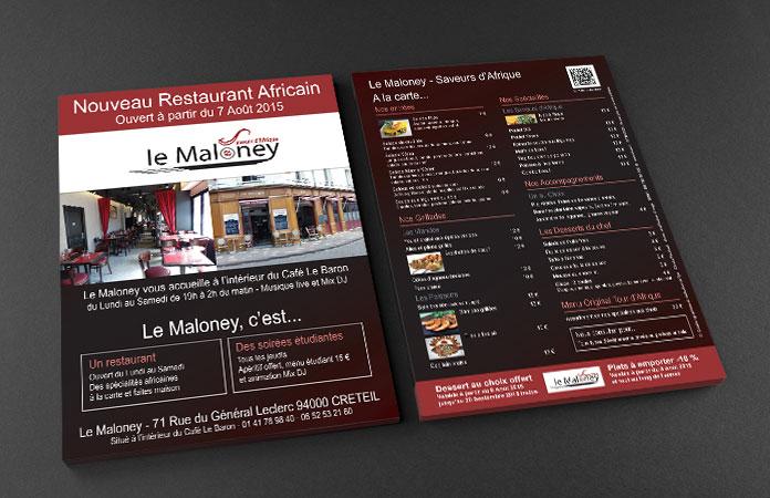 Flyer créé par l'agence ekooo - Ouverture du restaurant Africain, le Maloney.