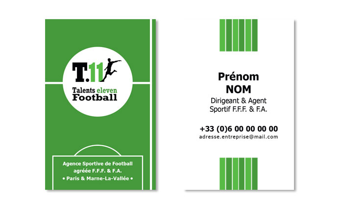 Réalisation des cartes de visites de l'Agence Sportive de Football, Talents Eleven Football par l'agence ekooo (94)
