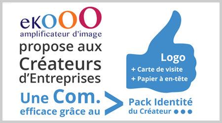 """ekooo propose aux créateurs d'entreprise le Pack """"Identité"""" : création logo, carte de visite et papier à en-tête"""