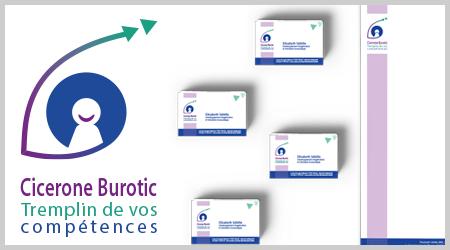 Cicerone Burotic choisi le Pack Identité visuelle de l'agence ekooo pour créer son logo, sa carte de visite et son papier à en-tête.