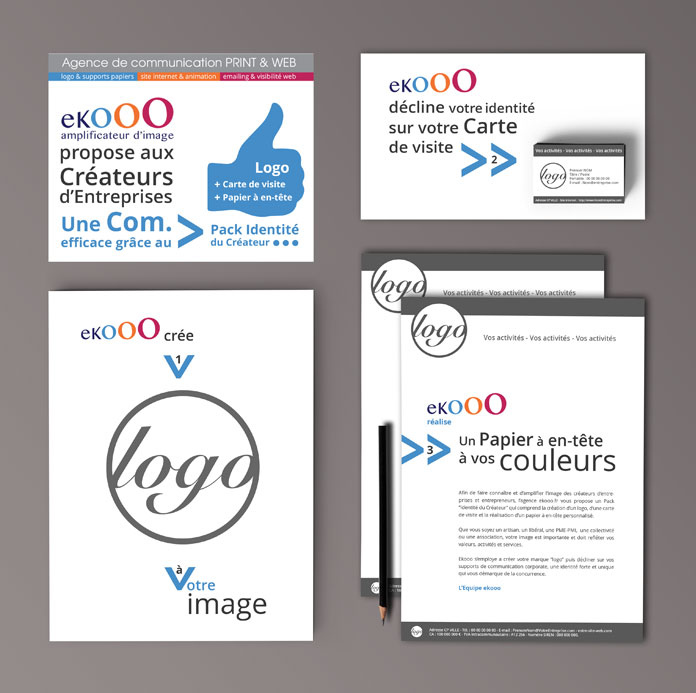 Une communication efficace grâce au Pack identité du créateur d'entreprise de l'agence ekooo