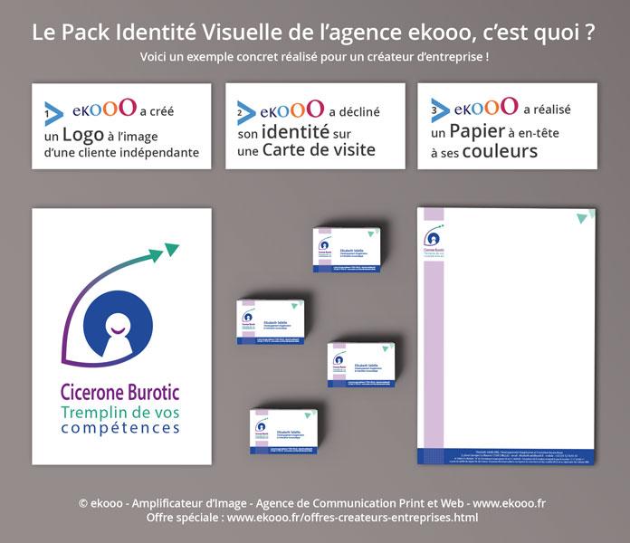 Le Pack Identité visuelle ekooo, c'est quoi ? L'entreprise, Cicerone Burotic, a fait confiance à l'agence ekooo pour réaliser sa charte graphique : Logo, carte de visite et papier à en-tête.