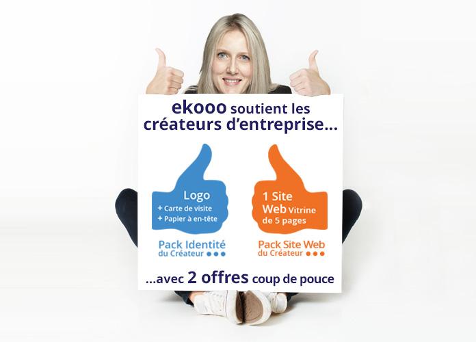 """Ekooo soutient les créateurs d'entreprise avec 2 offres coup de pouce : Pack """"identite visuelle"""" et Pack """"site web"""""""
