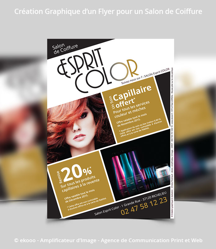 Réalisation d'un Flyer pour un salon de coiffure de Richelieu, Esprit Color. Design et Création, Agence ekooo