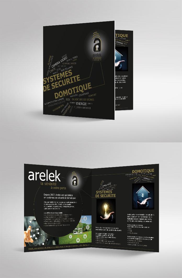 Création d'une plaquette commerciale PDF pour l'entreprise Arelek. Design et réalisation Agence ekooo
