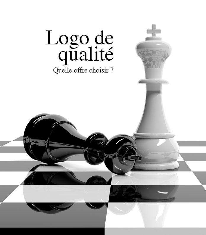 Pièces d'échecs pour illustrer l'article logo low cost contre logo de qualité