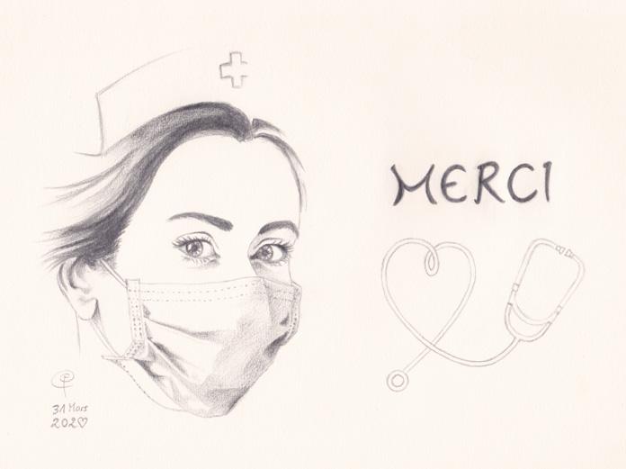 Dessin Agence ekooo - Covid 19, Hommage aux personnels de santé !